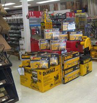 Valley Building Supplies Ltd. | showroom - DeWALT tools display